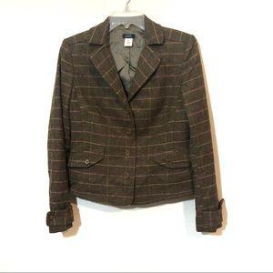 J Crew window pane plaid wool blazer pocket jacket